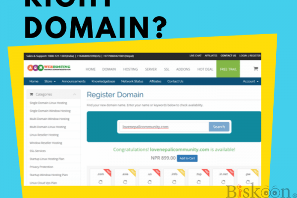 register new domain at Just low cost & price! -by nepal  AGMWebHosting