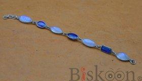 Sterling Silver Combo Bracelet - Blue Kyanite + Moonstone  from Pyramid Tatva Nepal