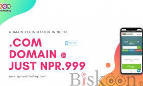 Purchase Exciting .COM Domain at Just NPR.999 only at AGM Web Hosting.