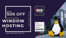 Get Extra Flat 50% Off on Single Domain Window Hosting Plan - AGM Web Hosting