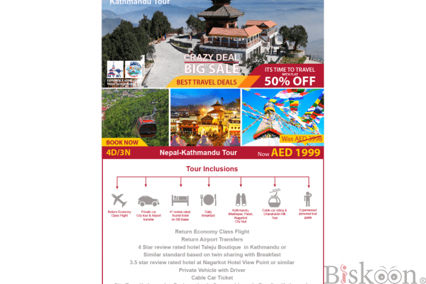 50% OFF To visit Nepal
